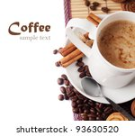 fresh coffee with milk in cup... | Shutterstock . vector #93630520
