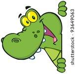 happy crocodile looking around...   Shutterstock .eps vector #93649063