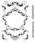 set of vector frames and... | Shutterstock .eps vector #93649369