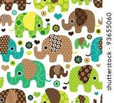 Seamless Retro Elephant Kids...