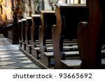 Wooden Benches In The Cathedral