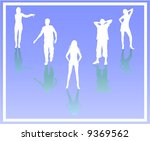 people silhouettes with shadows | Shutterstock .eps vector #9369562