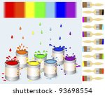 pots of colour paint and a... | Shutterstock . vector #93698554