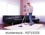 he cleaned the carpet  vacuum... | Shutterstock . vector #93715252