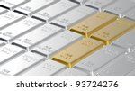 Gold and platinum ingots. Computer generated 3D photo rendering. - stock photo