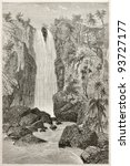 Small photo of Zaora waterfalls old illustration, Abyssinia. Created by Ciceri after Lejean, published on Le Tour du Monde, Paris, 1867