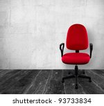 Red A Chair In Old White ...