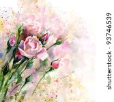 beautiful watercolor rose | Shutterstock . vector #93746539
