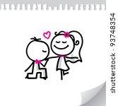 cartoon wedding couple on...   Shutterstock .eps vector #93748354