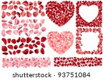 Stock vector big collection of detailed realistic rose petals different variations and colors includes frames 93751084