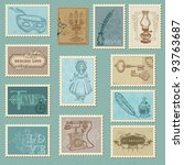 retro postage stamps   for... | Shutterstock .eps vector #93763687