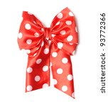 Dotted Red Satin Gift Bow And...