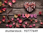 Word Love With Heart Shaped...
