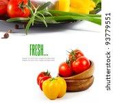 fresh vegetables on the white... | Shutterstock . vector #93779551