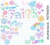 faith hand drawn back to school ... | Shutterstock .eps vector #93784054