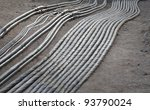 Cables for electricity or broadband in a ditch on construction site - stock photo