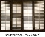 wooden shutters in front of... | Shutterstock . vector #93795025