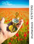 Compass in a Hand / Discovery / Beautiful Day / Red Poppies in Nature - stock photo