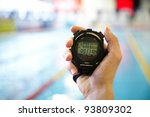 hand of coach with a stopwatch... | Shutterstock . vector #93809302