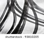 Tracks Of Car Tires In Thin...