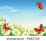 butterfly and flowers | Shutterstock .eps vector #9381763