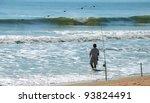 Surf Fisherman Fishing On The...