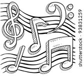 Doodle style musical notes border sketch in vector format - stock vector