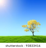 green field and yellow tree on... | Shutterstock . vector #93833416