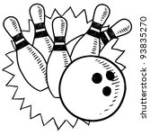 Doodle style bowling sketch in vector format - stock vector