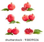 pomegranates with green leaves... | Shutterstock . vector #93839026