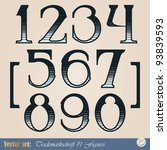 set of vector digits of the... | Shutterstock .eps vector #93839593