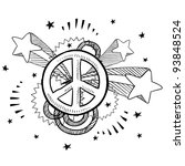 doodle style peace sign with... | Shutterstock .eps vector #93848524