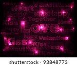 valentine neon background.... | Shutterstock .eps vector #93848773