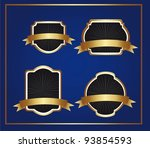 black and gold labels over blue ... | Shutterstock .eps vector #93854593