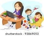 Illustration Featuring a Working Mom - stock vector