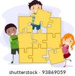 illustration of kids solving a... | Shutterstock .eps vector #93869059