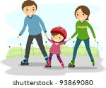 Illustration of Parents Teaching their Kid to Rollerblade - stock vector