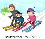 Illustration of a Family Skiing Together - stock vector