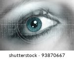 eye close up with technology... | Shutterstock . vector #93870667