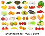set of fruits and vegetables...   Shutterstock . vector #93871495