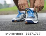 tying sports shoe | Shutterstock . vector #93871717