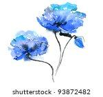 Blue Flower On White Background