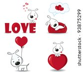 a set of funny dogs with hearts....