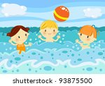 kids playing volleyball among... | Shutterstock . vector #93875500