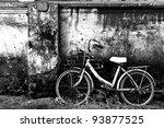 Old Bicycle And Brick Wall
