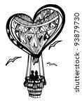 flying balloon heart for... | Shutterstock .eps vector #93879730