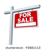 real estate red for sale sign... | Shutterstock . vector #93881113