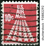 USA - CIRCA 1968: A stamp printed in USA shows the 50-Star Runway, circa 1968 - stock photo