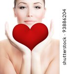 beautiful woman holding big red ...   Shutterstock . vector #93886204