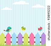 background with bird and flying ... | Shutterstock .eps vector #93895222